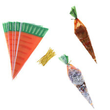 20pcs Easter Carrot Candy Bags Easter Gi Bags Plastic Candy Cones Bags Fad zh