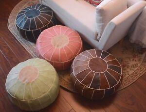 Boho Faux Leather Moroccan Pouf Footstool Storage Ottoman Cushion Unstuffed