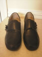 BRAND NEW BLACK SMALL WEDGE PART LEATHER SHOES BY CARAVELLE SZ 4 VELCRO STRAP