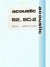 "1970's ""acoustic"" Brand B2/BC2 Bass Amp OWNERS MANUAL, GOOD Condition"
