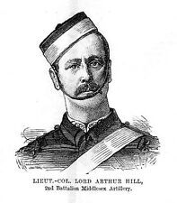 LT COL LORD ARTHUR HILL 2nd Battalion Middlesex Artillery - Antique Print 1884