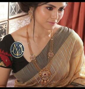 Bollywood Gold Plated Handmade Jewelry Necklace Set South Indian Bridal CZ Setvt