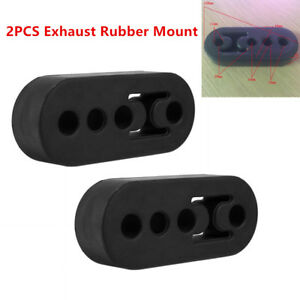 2Pcs Car SUV Rubber Exhaust Tail Pipe 4 Holes Mount Bracket Hanger Insulator New