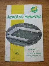 10/11/1965 Norwich City V ADO DEN HAAG Friendly [] (Heavy Rusty in Fiocco & contrassegnato,