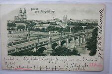 14337 ak Magdeburg puente sobre el río Elba 1901 PC brigde over the River