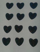 25 black hologram heart iron on transfers 12mm x 12mm