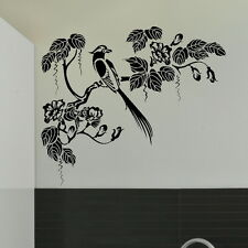 Oriental tree with peacok bird on branch large vinyl wall art sticker decal x37