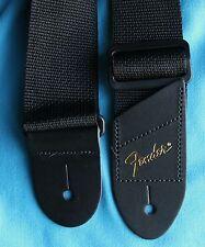 Fender Economy 2 Inch Wide Black Polyweb Strap, Gold Foil Logo End, 0996060049