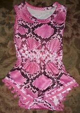 Pink Snakeskin Baby Romper with Ball Fringe 0-3 months