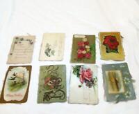 8 Vintage Greetings Postcards - Violets Birds Roses Birthday