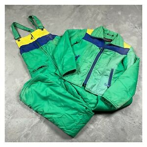 70s VTG SEARS Sports Center bright green Jacket Pants M Tall ski snow suit Bib