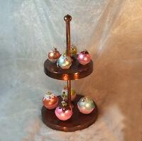 Vintage Cup-cakes Christmas Tree Glass Ornaments 8pc lot Balls Kugel Germany vtg