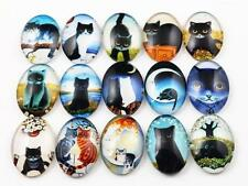 10pcs 18x25mm Verre Chat Cabochons
