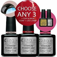 QUTIQUE Gel Nail Polish Colour Kit/Set + LED Lamp-ANY 3 Colours-Great Xmas Gift