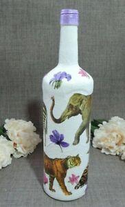 Tigers,Zebra,Elephant Decoupaged Hand Decorated Glass Bottle,Lamp,Stem Vase