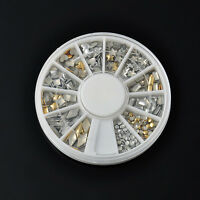 UE76 Nail Art Tips Metal Metallic Studs Stickers Gold Silver 120Pcs/WHEEL