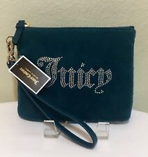 NWT Juicy Couture Black Label Wristlet Blue Velour Purse Wallet Rhinestones $198