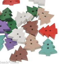 100PCs Wooden Buttons Christmas Tree Mixed Fit Sewing and Scrapbook