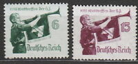 Stamp Germany Mi 584-5x 1935 WW2 3rd Reich War World Meeting Bugle MNH