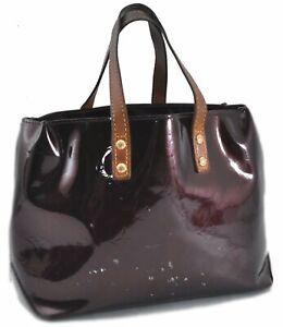 Authentic Louis Vuitton Vernis Reade PM Hand Bag Wine Red Purple M91993 LV E0618