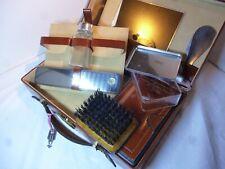Travel Wash Shaving Kit Italian Leather Vintage Mini Case with Lock and Key