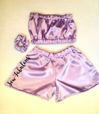Handmade Women's Outfit Shorts Clothes New UK Lilac Satin Bandeau Festival