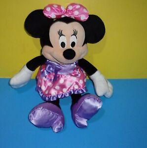 "Disney Medium 16"" Pink Purple Minnie Mouse Plush Doll Stuffed Animal Toy Figure"