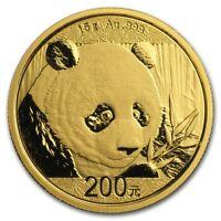 CH/GEM BU 2018 15 Gram Gold Chinese Panda Coin Sealed in Plastic