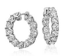 Pave 1,68 Cts Natürliche Diamanten Eternity Creolen Ohrringe In Feinen 18K Gold