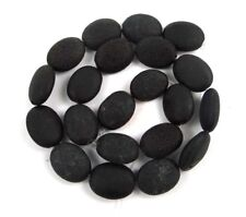 """18x13mm Natural Black Lava Oval Beads - Aromatic - Essential Oils Diffuser 15"""""""