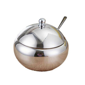 Sugar Bowl with Lid and Spoon Salt Sugar Pot Condiment Container Home Kitchen