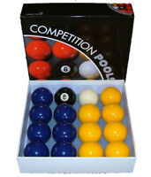 Blue and Yellow 2 Inch Pool Ball Set - Full Size Pool Balls, New Free Delivery