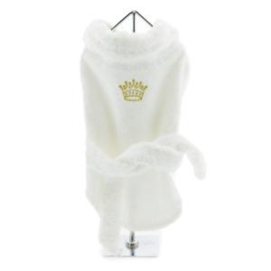 White Gold Crown Cotton Dog Bathrobe by Doggie Design