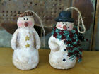 Grubby Primitive Paper Mache Snowman Christmas Tree Ornaments set of 2