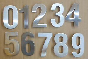 LARGE 304 SATIN STAINLESS (130mm) HOUSE DOOR NUMBERS NUMERALS - CONCEALED FIX