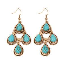 Vintage Jewelry Women Turquoise Charm Tibetan Boho Hoop Drop Dangle Earrings
