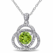 Amour Sterling Silver Peridot and 1/10ct TDW Diamond Necklace