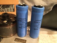 2x SPRAGUE 13000 uF 15v Electrolytic Capacitors Type 36D 7626L NOS Made in USA