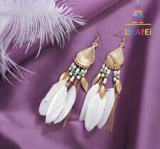 Fashion Earring Boho Festival Tribal Dream Catcher Feather Ivory Tassel Gold