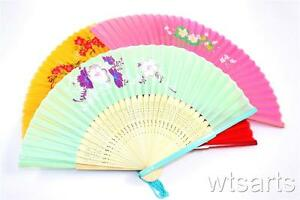 """9"""" Chinese Floral Pattern Hand Fan, Geisha, Party and Wedding"""