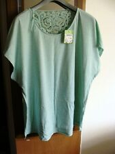 New with tags - C&A mint green cap sleeve cotton top with lace back neck 22/24