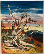 Original Oil Painting Landscape Barren Trees SIGNED Suro Surrealism