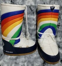 Rare Tecnica Original Moon Boots Rainbow Size EU 39/41 Navy Blue White