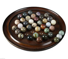 Authentic Models GR005F Solitaire Game French Finish Solid Gemstone Marbles