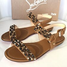 CHRISTIAN LOUBOUTIN BIKEE BIKE BROWN NOISETE LEATHER FLAT SPIKED SANDALS 38.5