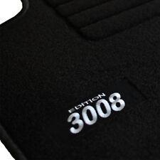 6a1a280a14125 4 TAPIS SOL PEUGEOT 3008 A PARTIR DE 2009 TOUS MOQUETTE LOGO BLANC SUR  MESURE (Compatible avec   plusieurs véhicules)