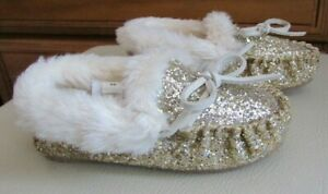 CREWCUTS Toddler Kids Gold Moccasin Slippers Booties Size K9