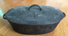 """Vintage Cast Iron Dutch Oven Roasting Pan # 2 With Lid Heavy 12"""" Long"""
