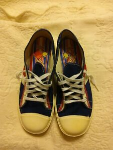 Vintage Mens Blue Red White Canvas Sneakers Shoe Size 5 Made in USA Patriotic