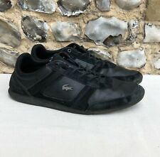 Mens Lacoste Shoes Trainers UK 10 EU 44.5 US 11 Black Suede Leather Lace up